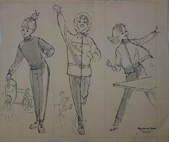 Mode Drawing : Young Girl Dresses - Original watercolor & ink drawing
