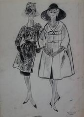 Rosy ANDREASI-VERDIER - Mode Drawing : Pretty Elegant Girls - Original charcoal drawing