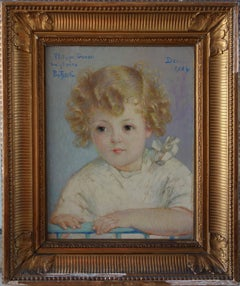 Blond Hair Boy - Original signed oil on canvas - 1934