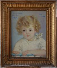 Blond Hair Boy - Original signed oil on canvas - 1934