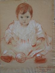 Baby Girl with Red Ball - Original signed charcoals drawing - 1904