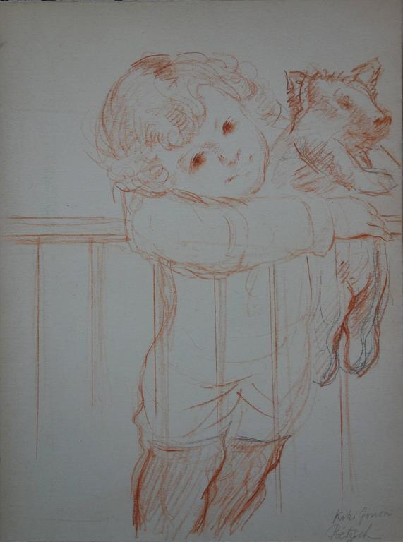 Young Boy with Pig Stuffed Toy - Original Signed Charcoal Drawing