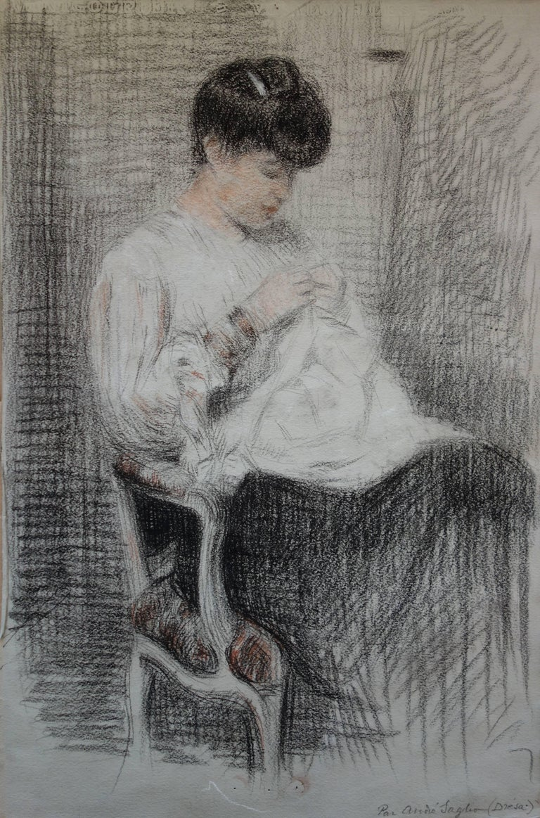 Gustave Poetzsch Figurative Art - Woman Sewing - Original Charcoals Drawing