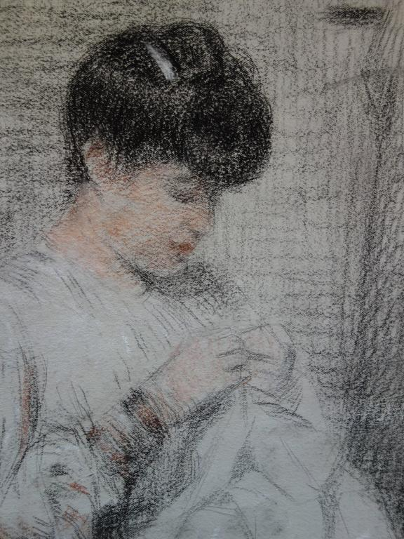 Woman Sewing - Original Charcoals Drawing - Gray Figurative Art by Gustave Poetzsch