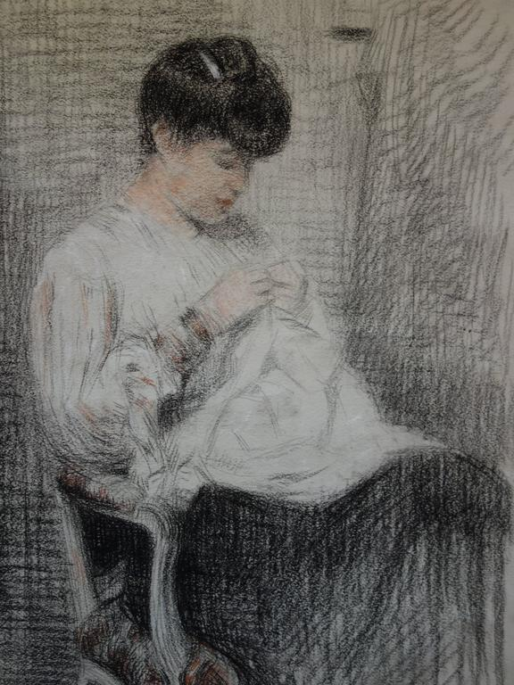 Woman Sewing - Original Charcoals Drawing - Realist Art by Gustave Poetzsch