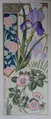 Irises And Rosehips - Original Lithograph - Art Nouveau 1890s