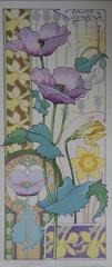 C RIOM : Poppies And Daffodils - Original Lithograph - Art Nouveau 1890s