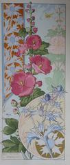 C RIOM : Hollyhocks And Thistles - Original Lithograph - Art Nouveau 1890s