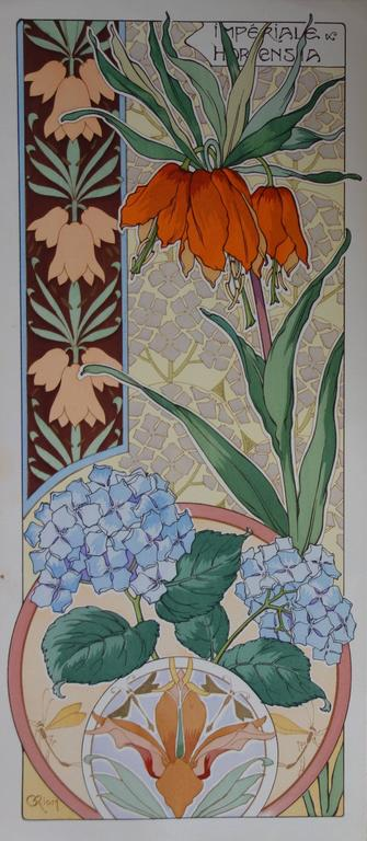 Unknown Still-Life Print - C RIOM : Imperial And Hydrangea - Original Lithograph - Art Nouveau 1890s