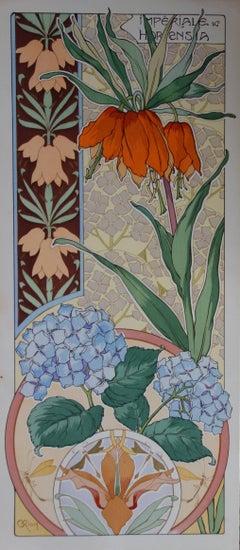 C RIOM : Imperial And Hydrangea - Original Lithograph - Art Nouveau 1890s