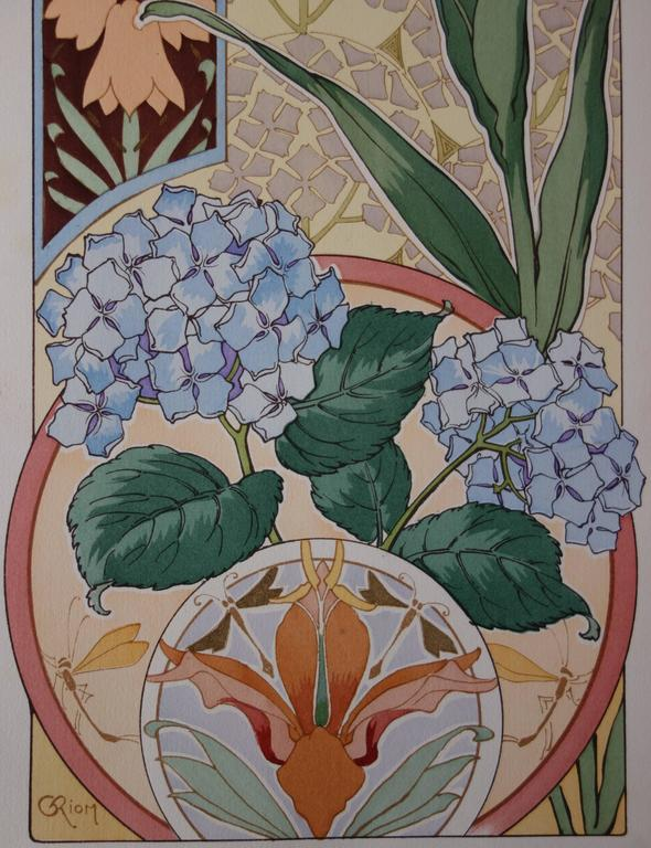 C RIOM : Imperial And Hydrangea - Original Lithograph - Art Nouveau 1890s - Gray Still-Life Print by Unknown