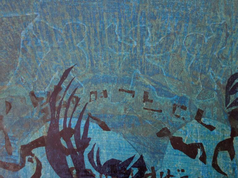 Dance with Shrimps and Mermaids - Original handsigned woodcut - 1982 - Modern Print by Lee Hang-Sung