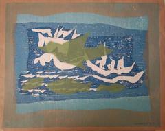 Ocean Birds and Ships - Original handsigned woodcut - 1975