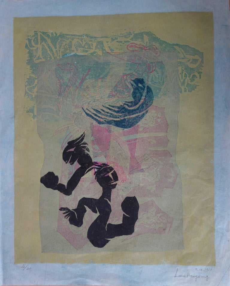 """LEE Hang Sung Garden of Joy  Original hand signed woodcut  Numbered 4/20 Printed on Korean paper 59 x 47 cm (23 x 18"""")  Excellent condition"""