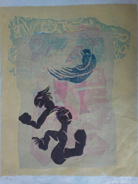 Garden of Joy - Original handsigned woodcut - 1981 For Sale 2