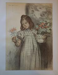 Young Girl with Flowers - Original lithograph - 1897