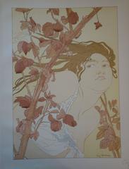 In the Brambles - Original lithograph - 1897