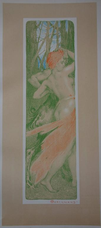 Renewal - Original lithograph - 1897 - Gray Figurative Print by Émile Berchmans