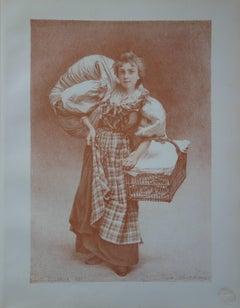 The Laundress - Original lithograph - 1897