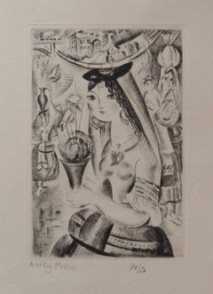 Young girl with basil - Original etching, Handsigned