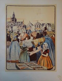 Un marché en Zélande -  original lithograph (1897/98)