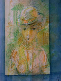Woman With a Hat at The Window - Original signed Watercolor - 1977