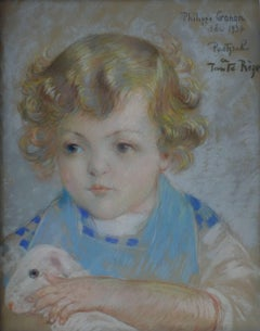 Blond Hair Boy with a Lamb - Original signed charcoals drawing - 1934