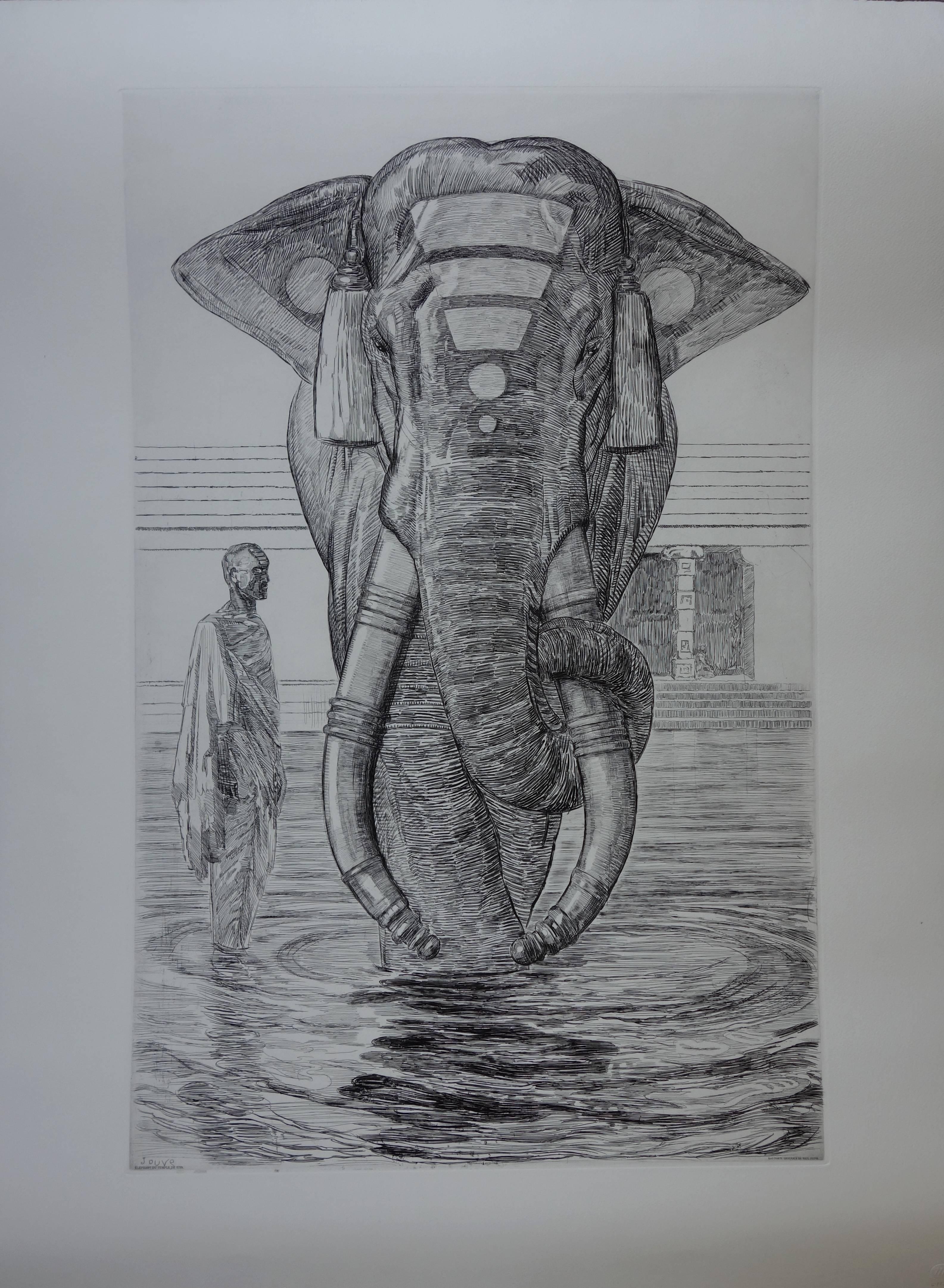 Elephant of Siva Temple - Original etching