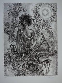 June : the Shepherd - Original handsigned etching - Exceptional n° 1/100