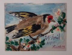 Bird on Flowering Tree - Lithograph - 1957
