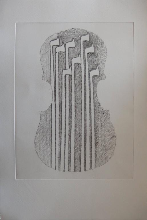 Fernandez Arman Figurative Print - Violin and bows - Original etching - 1979