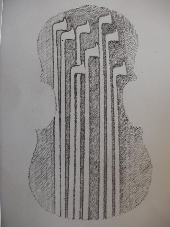 Violin and bows - Original etching - 1979 - Print by Fernandez Arman