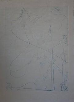 Woman with crutch - Original etching - 1969