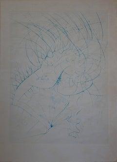 Woman Leaf - Original signed etching - 1969