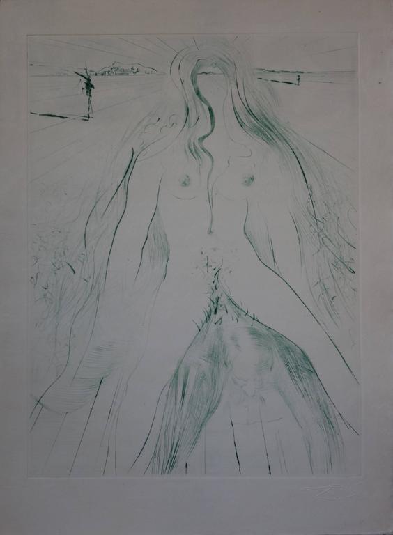 Woman riding a man - Original signed etching - 1969