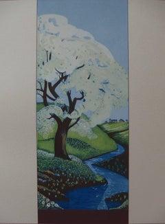 Peaceful Landscape - Original woodcut print
