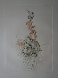 Unicorn Woman - Original handsigned etching - 150ex