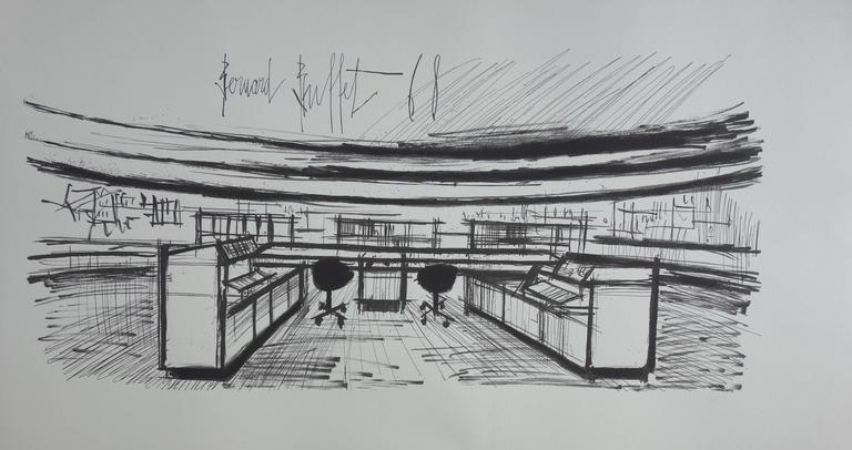 Control Room - Lithograph on vellum - 1968