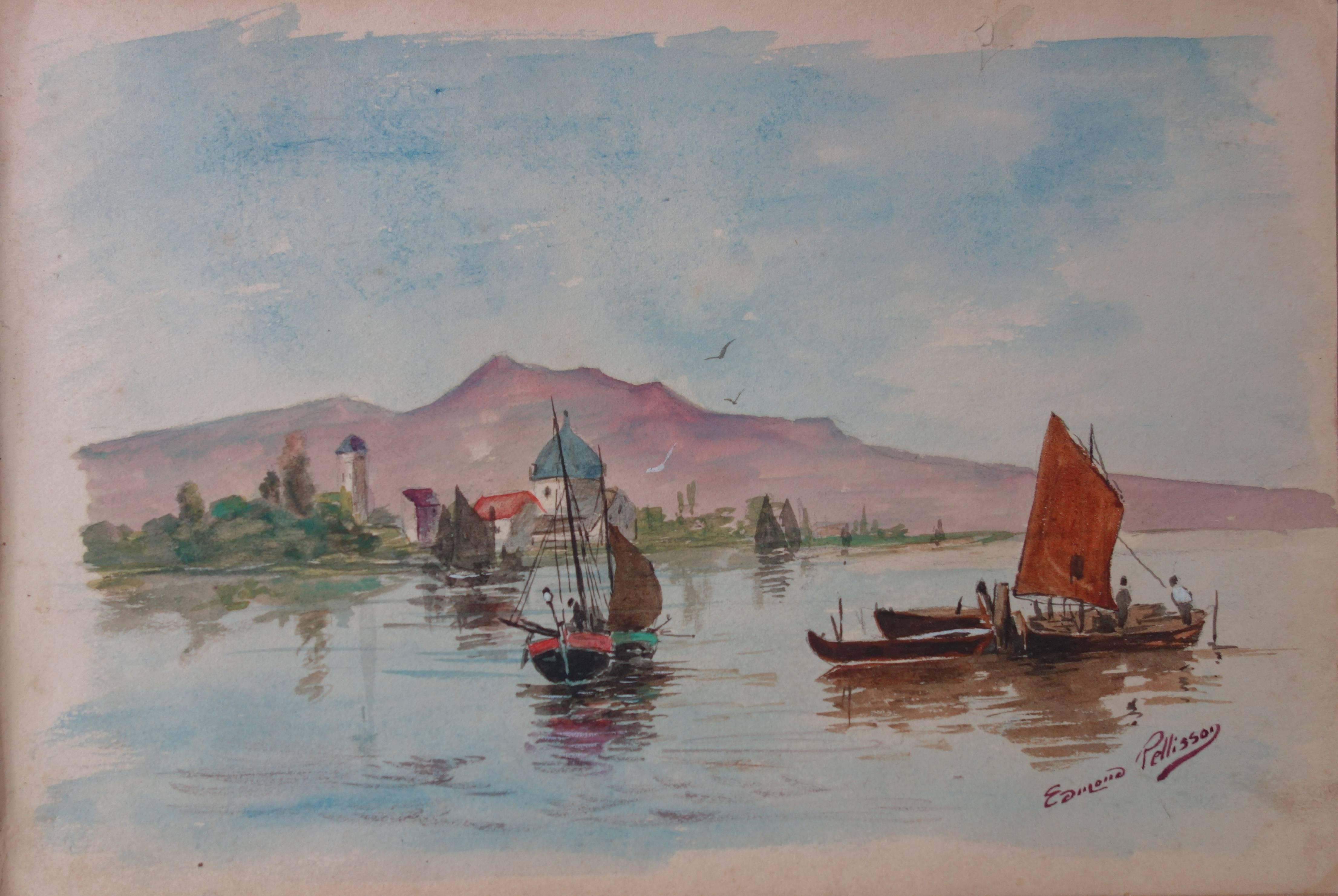 Boats in Morocco - Original handsigned watercolor - c. 1899
