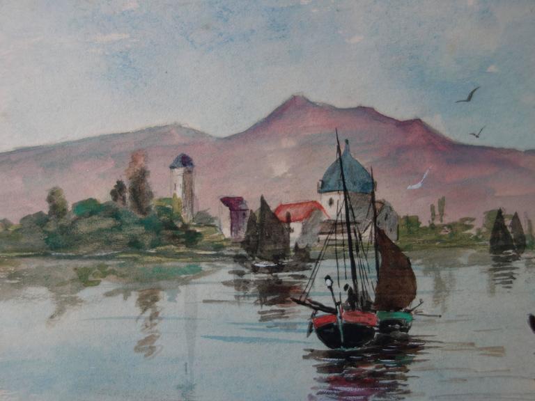Boats in Morocco - Original handsigned watercolor - c. 1899 - Realist Art by Edmond Pellisson