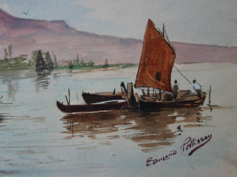 Boats in Morocco - Original handsigned watercolor - c. 1899 - Art by Edmond Pellisson