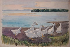White Ducks Family - Original handsigned watercolor - c. 1899