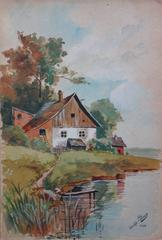 Wooden Chalet Near A Lake - Original handsigned watercolor - c. 1902
