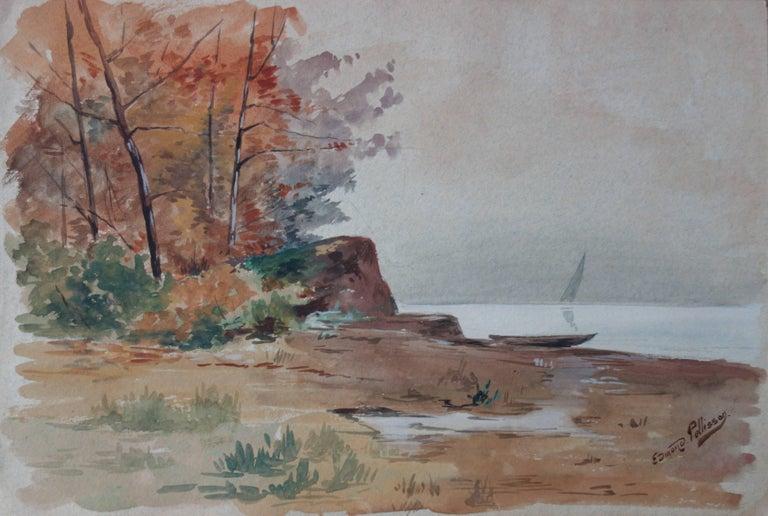 Edmond Pellisson Landscape Art - Last View of a Great Departure - Original whandsigned watercolor - c. 1899