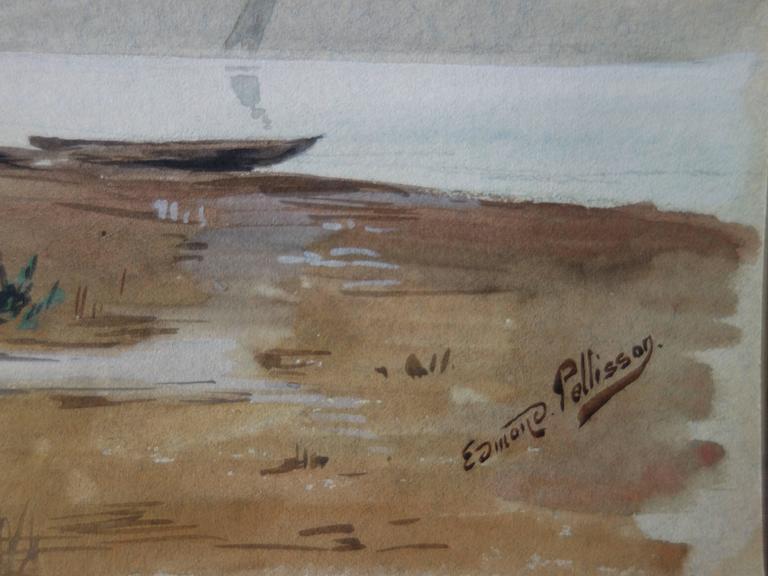 Last View of a Great Departure - Original whandsigned watercolor - c. 1899 - Art by Edmond Pellisson