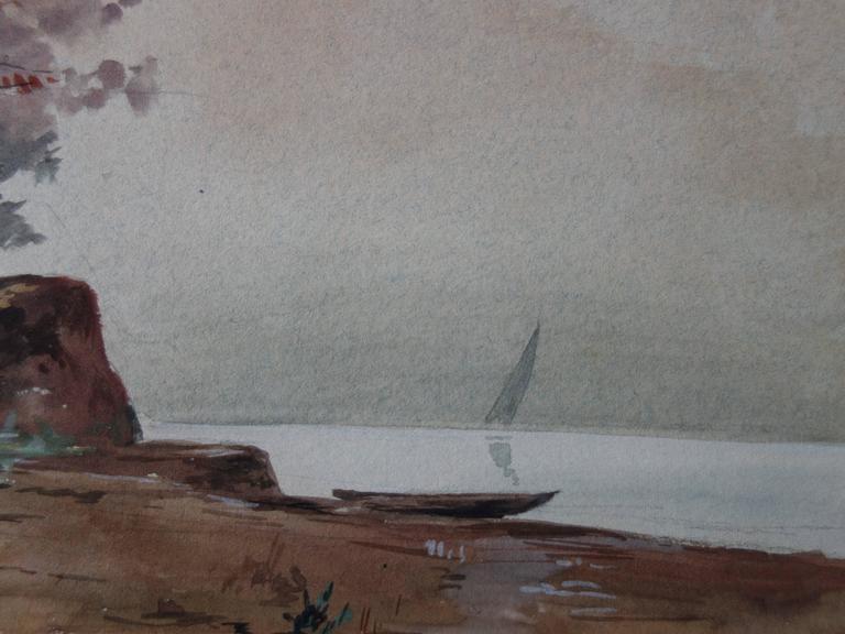 Last View of a Great Departure - Original whandsigned watercolor - c. 1899 - Gray Landscape Art by Edmond Pellisson