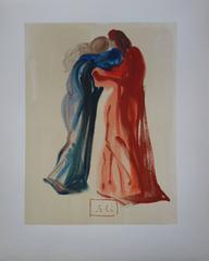 Purgatory 29 - Meeting of Dante and Beatrice - Original woodcut - 1963