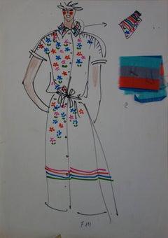 [Mode] Tutti Studio - Original ink and pen drawing : Spring Flowers Dress - 1978