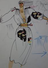 [Mode] Tutti Studio - Original ink and pen drawing : Low-Necked Dress - 1978