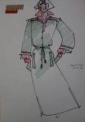 [Mode] Tutti Studio - Original ink and pen drawing : Military Dress - 1978